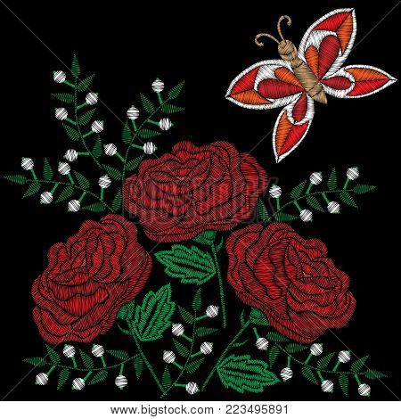 Embroidery style red rose and white flowers with butterfly stitches imitation. Vector embroidery rose and little flower on black background. Embroidery flower.