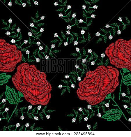 Seamless pattern with embroidery style red rose with white flower stitches imitation. Vector embroidery fashion flower on black background. Embroidery flower.