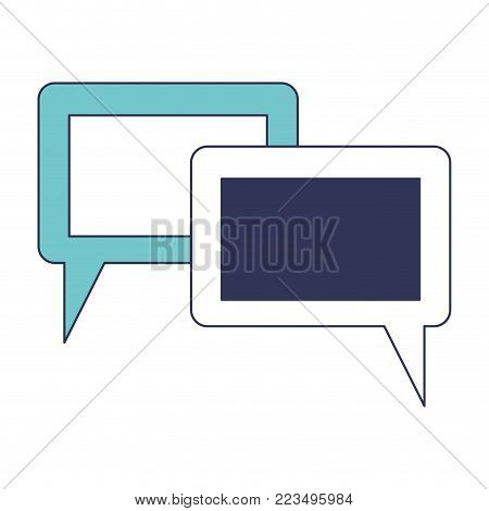 dialogue boxes with tail and frame in blue color sections silhouette vector illustration