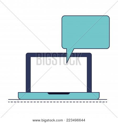 laptop computer with bubble dialogue in blue color sections silhouette vector illustration