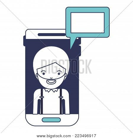 man social network smartphone screen dialogue in blue color sections silhouette vector illustration
