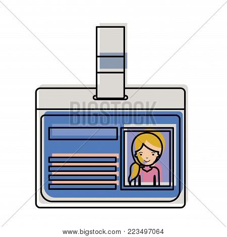 identification card with half body woman picture with pigtail hairstyle in watercolor silhouette vector illustration