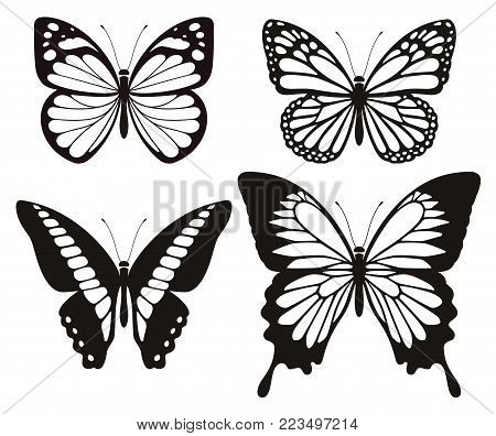 Butterfly Silhouette Icons Symbol Set. Vector Illustrations.