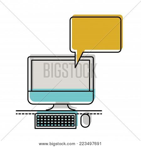 desktop computer with bubble dialogue in watercolor silhouette vector illustration
