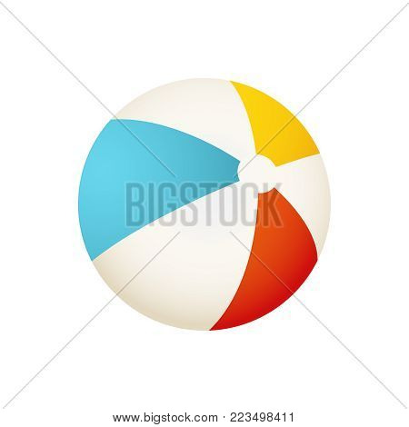 Colorful beach ball vector illustration. White, red, yellow and blue summer ball isolated on white background