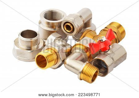 Plumbing fitting and tap, isolated on white background