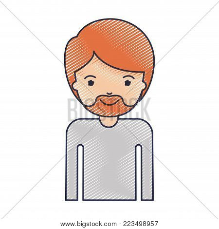 half body man with short hair and van dyke beard in colored crayon silhouette vector illustration
