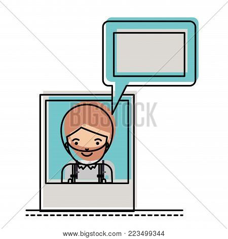 man social network picture profile dialogue comments in watercolor silhouette vector illustration