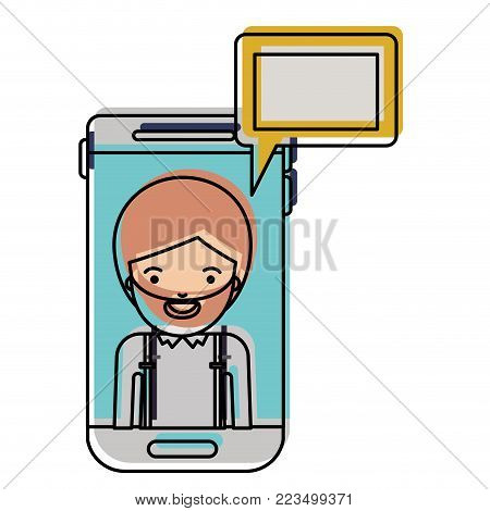 man social network smartphone screen dialogue in watercolor silhouette vector illustration