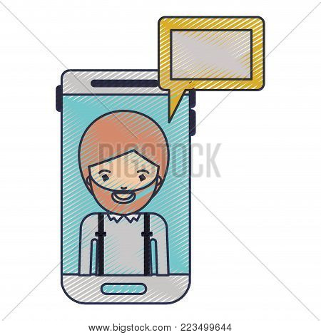 man social network smartphone screen dialogue in colored crayon silhouette vector illustration