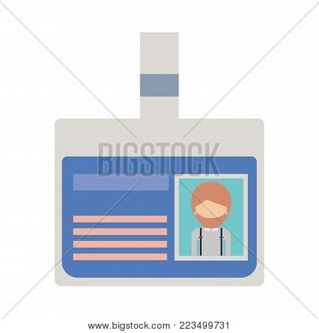identification card with half body man picture and faceless with short hair and beard in colorful silhouette vector illustration