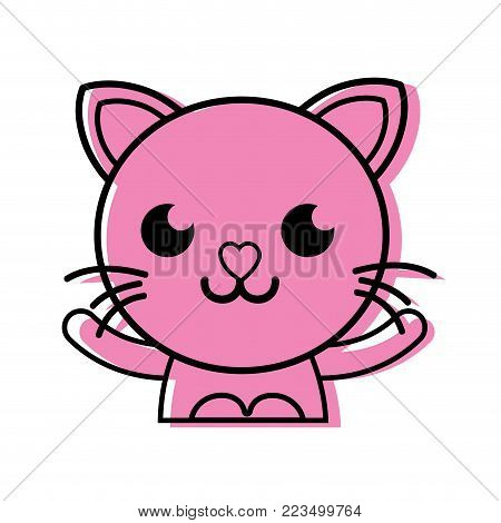 color smile cat adorable feline animal vector illustration