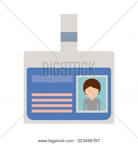 identification card with half body man picture and faceless with short hair in colorful silhouette vector illustration