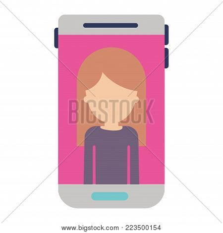 smartphone faceless woman profile picture with long straight hair in colorful silhouette vector illustration