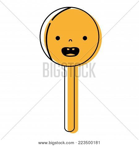 color smile circle ice lolly kawaii vector illustration