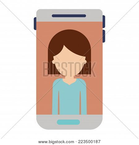 smartphone faceless woman profile picture with hair middle length in colorful silhouette vector illustration