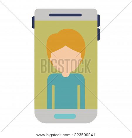 smartphone faceless guy profile picture with short hair in colorful silhouette vector illustration