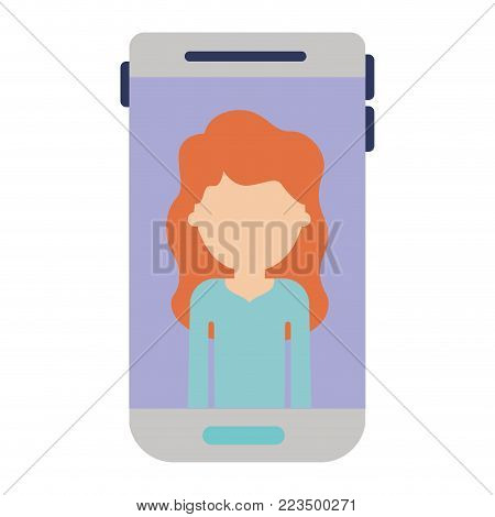smartphone faceless woman profile picture with long wavy hair in colorful silhouette vector illustration