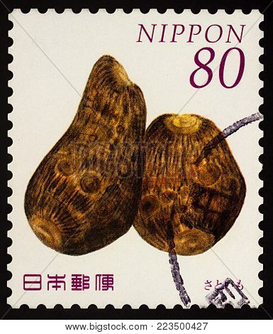 Moscow, Russia - January 25, 2018: A stamp printed in Japan shows Taro Roots (Colocasia esculenta), series