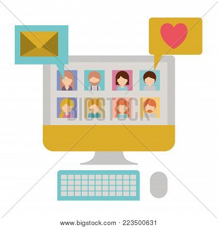 faceless people picture profiles social network in desktop computer screen with dialogues mail and heart in colorful silhouette vector illustration