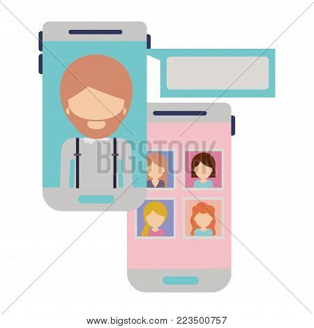 faceless man and group social network chat in smartphone in colorful silhouette vector illustration
