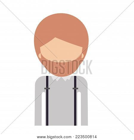 half body faceless man with suspenders and beard in colorful silhouette vector illustration