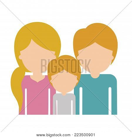 half body faceless family group with blonde hair in colorful silhouette vector illustration