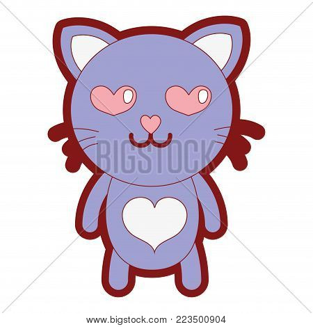 line color enamored cat cute feline animal vector illustration
