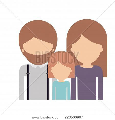 half body faceless family group with light brown hair in colorful silhouette vector illustration