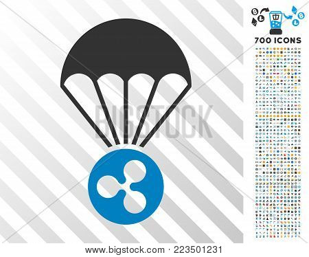 Ripple Parachute pictograph with 700 bonus bitcoin mining and blockchain pictographs. Vector illustration style is flat iconic symbols designed for bitcoin software.