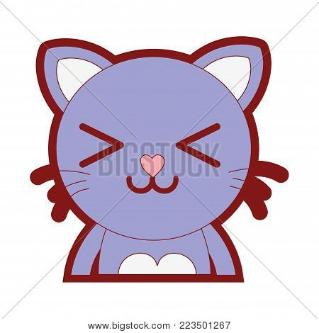 line color happy cat adorable feline animal vector illustration
