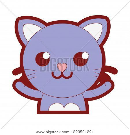 line color smile cat adorable feline animal vector illustration