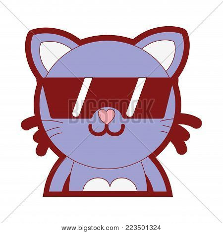 line color happy cat adorable feline animal with sunglasses vector illustration