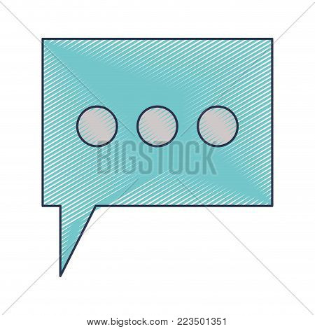 dialogue box with tail and three suspension points in colored crayon silhouette vector illustration