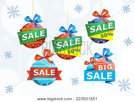 Christmas sale stickers isolated on white background. Retail marketing, new advertising campaign, holiday shopping, exclusive proposition vector illustration. Special offer, best price, big sale tags.