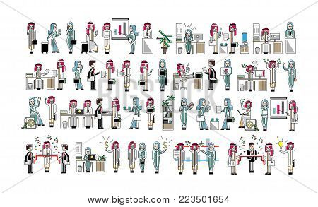 Arabic business colleagues big set. Corporate partnership and teamwork, office life, social collaboration, professional business community. People in traditional national clothes vector illustration