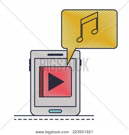 tablet device music app and dialogue box in colored crayon silhouette vector illustration