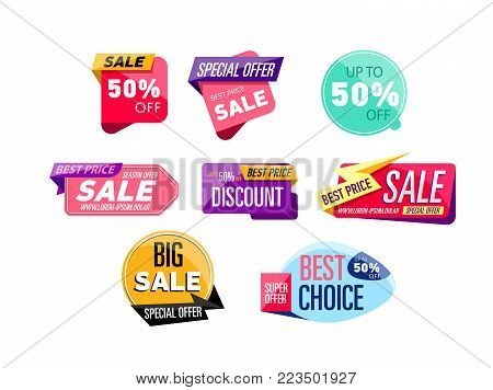Special offer, best choice, mega discount and big sale stickers. Retail marketing, new advertising campaign, holiday shopping, exclusive proposition vector illustration isolated on white background.