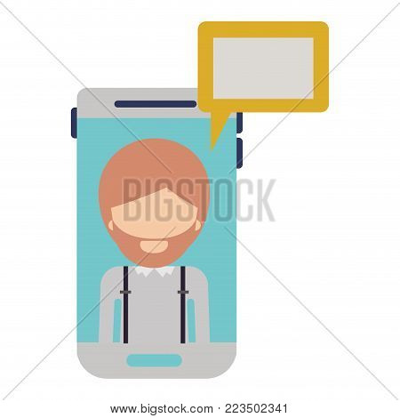 faceless man social network smartphone screen dialogue in colorful silhouette vector illustration