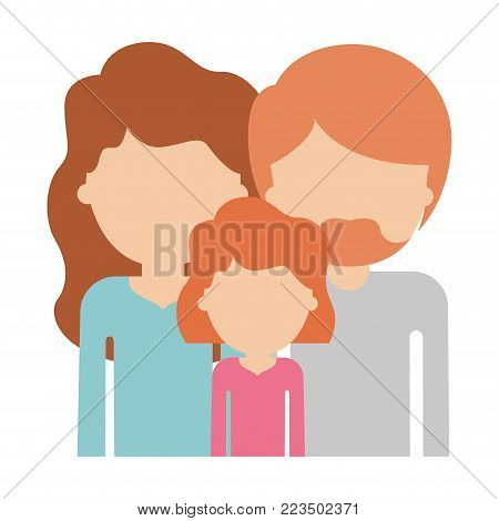 people in half body faceless woman and girl with long wavy hair him with van dyke beard in colorful silhouette vector illustration