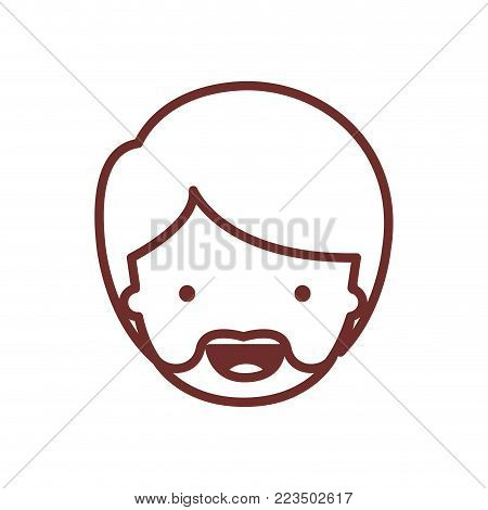 people graphic face of man with short hair and van dyke beard in brown contour vector illustration