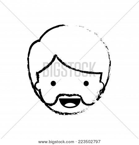 people graphic face of man with short hair and van dyke beard in black blurred contour vector illustration