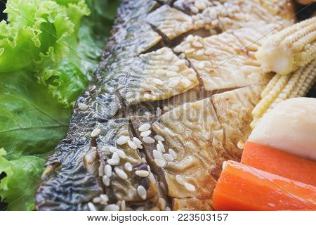 Grilled Saba Fish With Sauce And Sesame ,shallow Dept Of  Field