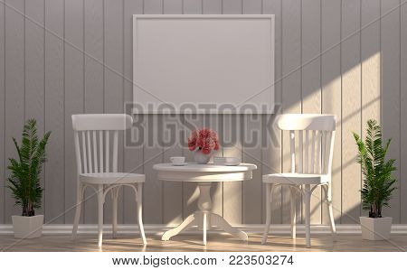 mock up white frame and white chair in room and sunlight in front of gray wall on wooden floor 3d rendering luxury living room vintage style  background room interior home design