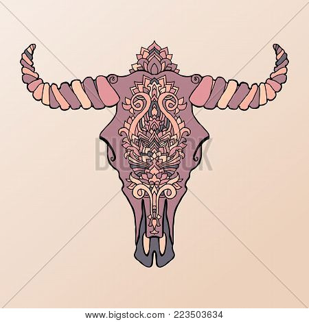 Mandala tattoo style dead cow head. Decorative ornament buffalo skull. Native indian art. Ethnic sketch design. Tribal boho style pattern. Vector illustration
