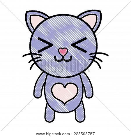 grated happy cat cute feline animal vector illustration