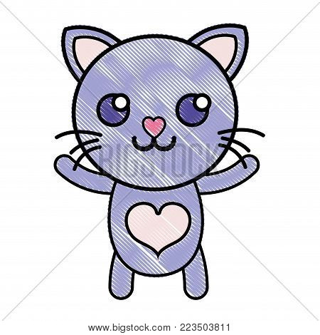 grated smile cat cute feline animal vector illustration