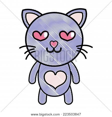 grated enamored cat cute feline animal vector illustration