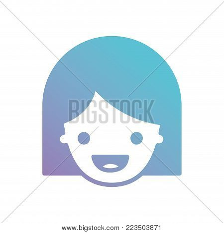 people graphic face of girl with middle length hair in degraded blue to purple color silhouette vector illustration