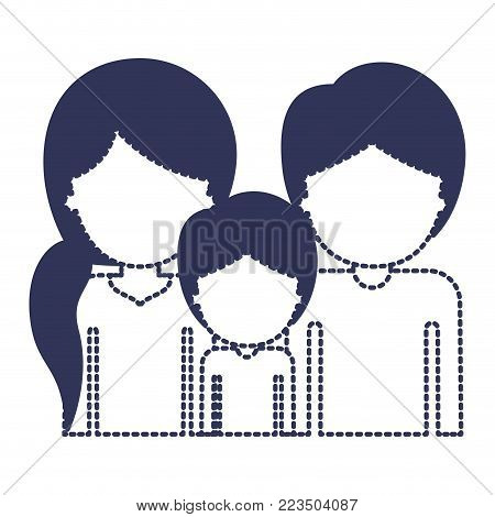 half body faceless people with woman with pigtail hairstyle and man and boy both with short hair in dark blue silhouette and dotted contour vector illustration
